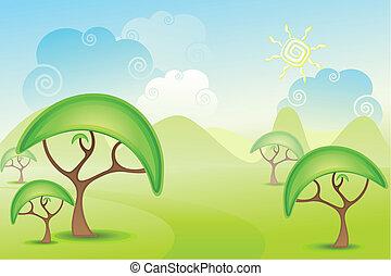 prairie, arbre