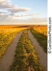 prairie, chemin, wah'kon-tah
