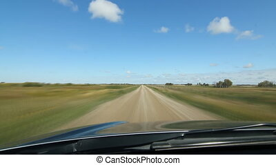 Prairie driving. Time lapse. SK.