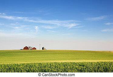 Prairie Farmland - A landscape with wheat and a farm on the...