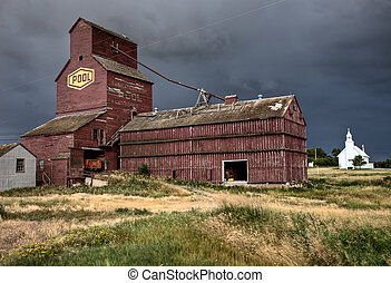 Prairie Grain Elevator and Church Saskatchewan Canada