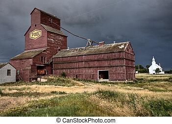 Prairie Grain Elevator and Church Saskatchewan Canada
