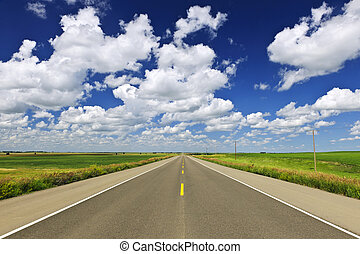 Prairie highway - Long stretch of flat highway in ...
