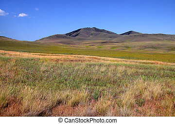 Prairie landscape in  north west Montana with blue skies
