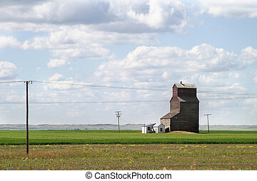 Prairie Landscape - Prairie landscape with an old grain...