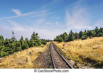 Prairie landscape with a railroad under a blue sky