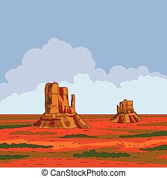 Prairie landscape with blue sky and clouds. Vector illustration. Wild nature.