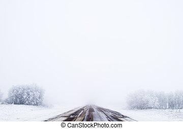 Prairie Road in Fog