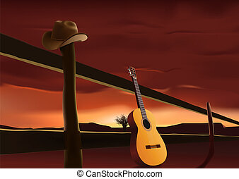 prairie sunset - vector nostalgic scene with cowboy hat and...