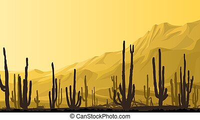 Prairie with cacti at sunset. - Horizontal cartoon ...