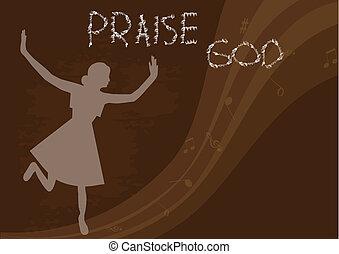 Praise God - Woman praise the lord. vector illustration