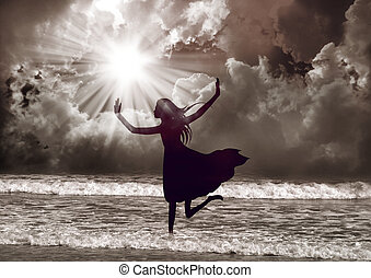 Young woman praise the lord with dance