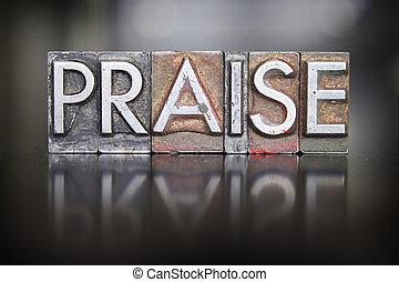 The word PRAISE written in vintage lead letterpress type