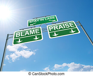 Praise or blame concept. - Illustration depicting a highway...
