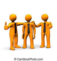 Praise - Orange cartoon characters praises his workmate.