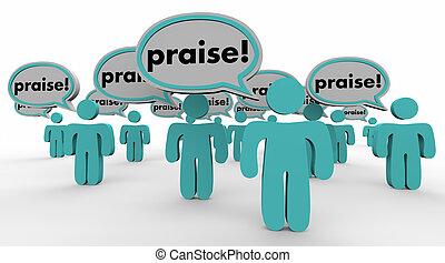 Praise People Speech Bubbles Compliments Words 3d Illustration