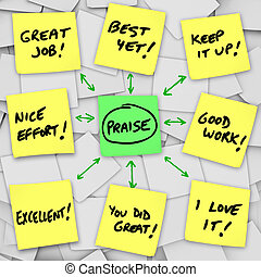 An array of yellow sticky notes with words of positive praise, reviews and commentary based on someone's performance and accomplishments