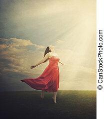 praising, женщина, гранж, задний план