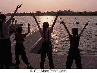 Praising God by the Lake Shore -- children