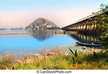 Prakasam Barrage in Vijayawada India