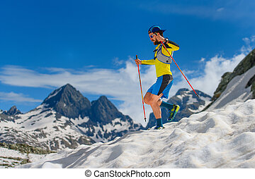 praktijk, hoog, afdaling, hoogte, skyrunning, gedurende, sneeuw