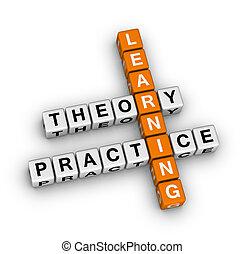 praktijk, -, theorie, leren