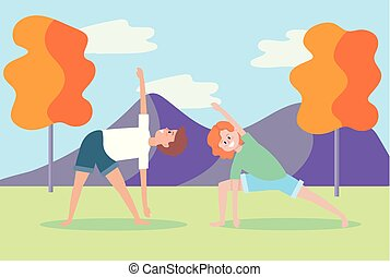 praktijk, vrouw, yoga houding, man