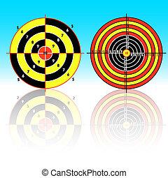 praktisch, pistool, het ontspruiten doelstellingen