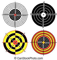 praktisch, satz, schießen, pistole, ziele