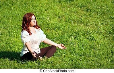 praktyka, outdoors, yoga