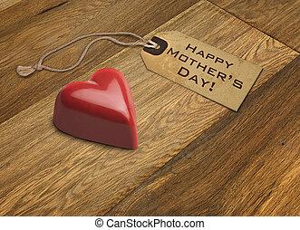 praline, rouges, jour, carte, mères