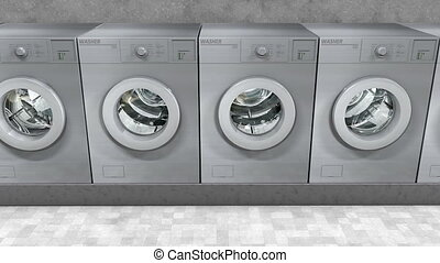 pralnia, publiczność, maszyny