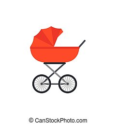 Pram, baby carriage in flat design. Vector cartoon illustration.