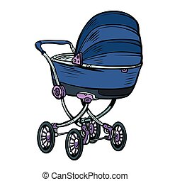 pram baby carriage stroller perambulator buggy. Pop art...