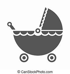 Pram black icon. Illustration for web and mobile design.