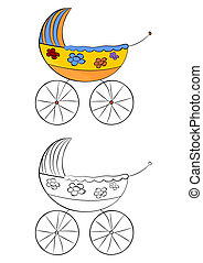 Pram - Coloring page with a pram on a white background....