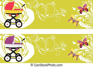 Pram. Decorative banners for design