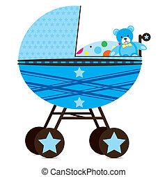 Pram for Baby Boy - Illustration of a pram for a baby boy.
