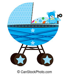 Pram for Baby Boy - Illustration of a pram for a baby boy.