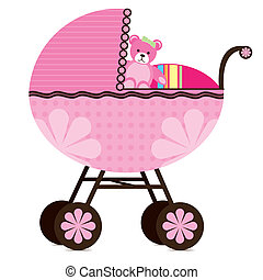 Illustration of a pram for a baby girl.