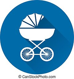 Pram icon. Baby carriage on blue background. Vector illustration.