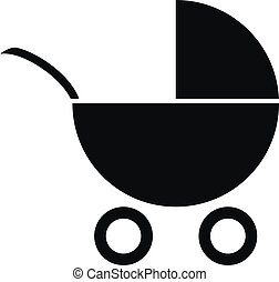 Pram icon on white background. Vector illustration.