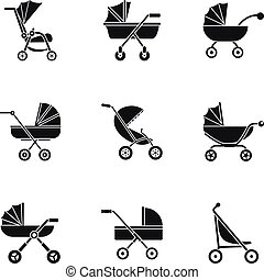 Pram icon set, simple style