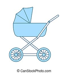 Pram Icon. Thin Line With Blue Fill Design. Vector...