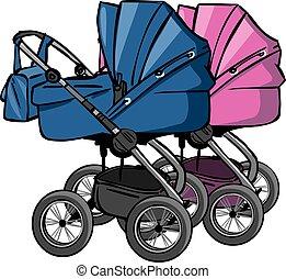 pram - pink and blue pram for girl and boy