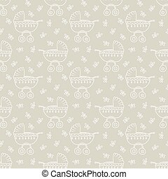 pram pattern - Seamless pattern with pram and flowers vector...