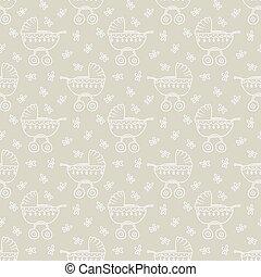 pram pattern - Seamless pattern with pram and flowers vector...