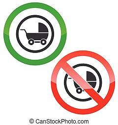 Pram permission signs