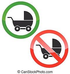 Pram permission signs set