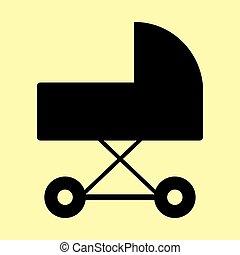 Pram sign. Flat style icon